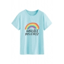Popular Letter Radiate Positivity Rainbow Graphic Short Sleeve Round Neck Loose Fit T Shirt for Women