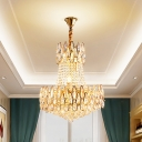 6 Bulbs Faceted Crystal Pendulum Light Traditional Gold 2 Tier Living Room Hanging Chandelier