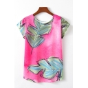 Casual Womens Leaf Printed Short Sleeve Crew Neck Loose Fit Tee Top