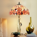 Gold Swan Pull-Chain Nightstand Lamp Tiffany 2 Bulbs Metal Table Light with Floral Stained Glass Shade