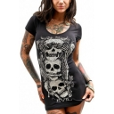 Popular Womens Skull Printed Short Sleeve Scoop Neck Mini Fitted T Shirt Dress in Black
