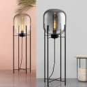 Contemporary LED Floor Light with Smoke Gray/Cognac Glass Shade Black Finish Oval Standing Floor Lamp