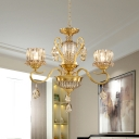 Traditional Floral Chandelier 3-Bulb Clear Crystal Glass Pendant Ceiling Light in Gold