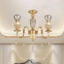 Gold Gooseneck Arm Hanging Chandelier Traditional Metal 3-Bulb Living Room Crystal Pendant