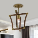 Frame Hallway Semi Mount Lighting Antiqued Wood 1-Bulb Brass Finish Ceiling Lamp Fixture