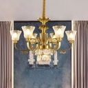 9-Light Bellflower Up Chandelier Mid Century Brass Frosted Glass Drop Lamp with Crystal Accent