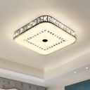 Black Squared Ceiling Mounted Fixture Minimalist LED Crystal Flushmount Lighting for Bedroom