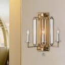 Gold Candelabra Sconce Light Fixture Countryside Metal 1 Light Corridor Crystal Wall Lamp