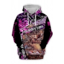 Trendy Boys Letter Country Girl Cartoon 3D Graphic Long Sleeve Drawstring Loose Hoodie with Pocket