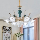 Opaque Glass Green Pendant Chandelier Floret 6-Head Traditionalist Hanging Ceiling Lighting over Dining Table