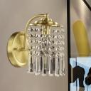 Cylindrical Bedside Wall Lighting Ideas Postmodern Crystal Strand 1 Head Brass Sconce Light