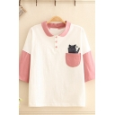 Fancy Girls Pocket Cat Embroidered Contrasted 3/4 Sleeves Turn down Collar Button up Relaxed Polo Shirt