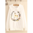Preppy Girls Deer Floral Printed Long Sleeve Stringy Selvedge Peter Pan Collar Relaxed Pullover Sweatshirt