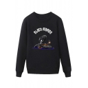 Cool Snake Letter Black Mamba Printed Pullover Long Sleeve Round Neck Regular Fit Graphic Sweatshirt for Men