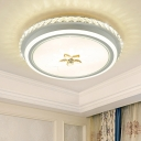 Inserted Crystal Circle Flush Mount Lamp Minimalist Bedroom LED Close to Ceiling Lighting Fixture in White