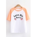 Fashionable Womens Letter Love My Berry Cartoon Strawberry Graphic Raglan Short Sleeve Crew Neck Contrasted Loose Fit Tee Top