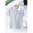 Fancy Girls Peach Embroidered Contrasted Short Sleeve Spread Collar Button up Loose Polo Shirt