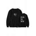 Cozy Letter Ode to You Printed Pullover Long Sleeve Round Neck Regular Fit Sweatshirt for Men