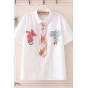 Cool Womens Cartoon Elephant Bear Print Plaids Tie Front Button-up Turn-down Collar Short Sleeve Regular Fit Shirt
