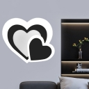 Loving Heart Ultrathin Flush Wall Sconce Modernist Acrylic Black LED Wall Mount Lighting Fixture