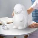 White Hedgehog Mini Nightstand Lamp Kids Style Single Ceramic Table Light with Remote