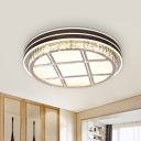 Brown LED Ceiling Light Fixture Simple Crystal Checkered-Pattern Round Flush Mount for Bedroom