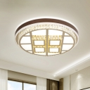 Cut Crystal LED Flush Mount Lamp Minimalism White Gridded Round Hotel Ceiling Light