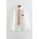 Cool Girls Letter Cat Cartoon Cat Footprint Printed Detail Button Down Tied Collar Long Sleeve Loose Fit Shirt in White