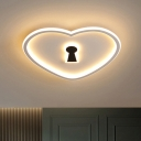 Acrylic Loving Heart Flushmount Lighting Nordic LED Flush Ceiling Lamp in White/Pink for Bedroom