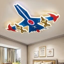 Cartoon Aircraft Flushmount Light Acrylic LED Bedroom Flush Ceiling Lamp Fixture in Blue
