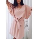 Formal Womens Plain Batwing Sleeve Round Neck Bow Tie Waist Short A-line Dress