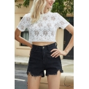 Gorgeous Ladies See-through Lace Allover Flower Embroidered Short Sleeve Crew Neck Regular Cropped Top in White