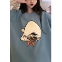 Cute Girls 3/4 Sleeves Crew Neck Mouse Printed Oversize T Shirt