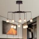 Crystal Rectangle Cascade Chandelier Modern 10-Light Bedroom Ceiling Pendant Lamp in Black