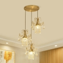 3-Light Crystal Fringe Cluster Pendant Post-Modern Brass Flared Dining Room Suspension Lamp