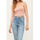 Sexy Womens Plain Knitted Spaghetti Straps Slim Fit Crop Cami Top