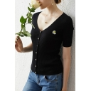 Single Daisy Floral Embroidered Short Sleeve V-neck Button up Slim Fit Knit Trendy T Shirt in Black