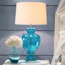Drum Fabric Shade Nightstand Light Countryside 1-Light Bedside Table Lamp with Vase Blue Glass Base