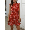Pretty Womens Ditsy Floral Printed Sleeveless Ruffled Trim Crew Neck Short A-line Dress in Red