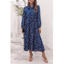 Popular Womens Ditsy Floral Print Long Sleeve Bow Tied Neck Mid Pleated A-line Dress in Blue