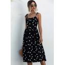 Fashion Womens Polka Dot Print Bow Tied Shoulder Midi Pleated Smoke Cami Dress