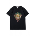 Cool Cartoon Graphic Short Sleeve Crew Neck Relaxed Fitted Tee Top for Men