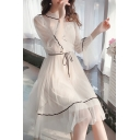 ew Style Womens Plain See-through Mesh Bell Sleeve Crew Neck Contrast Pipe Bow Tied Ruffled Short Swing Dress