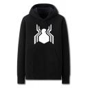 Trendy Mens Spider Pattern Pocket Drawstring Long Sleeve Regular Fit Hooded Sweatshirt
