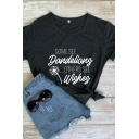 Trendy Letter Some See Dandelions Graphic Short Sleeve Crew Neck Slim Fit Tee Top for Women