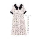 Elegant Womens Color Block Ditsy Floral Printed Tie Peter Pan Collar Short Puff Sleeve Midi A Line Dress in White