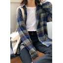 Classic Womens Plaid Printed Long Sleeve Spread Collar Button down Loose Shirt