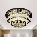 Crystal Hexagon Frame Semi Flushmount Contemporary LED Gold Close to Ceiling Light for Living Room