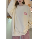 Chic Womens Letter GVR Print Long Sleeve Crew Neck Loose Fit Pullover Sweatshirt in Apricot