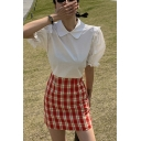 Simple Womens Solid Color Ruffle Trim Zip Back Peter Pan Collar Short Puff Sleeve Regular Fit Shirt in White